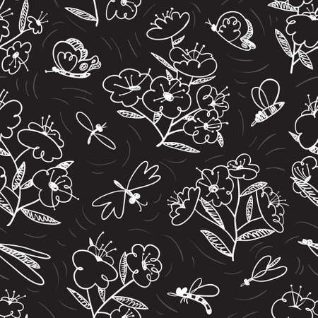 Summer seamless pattern with blossoming plants and flying insects around. Flowers and butterlies. Floral background with cute natural objects. Vector illustration in doodle sketchy style