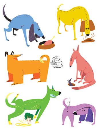 Cute cartoon set with dogs. Vector illustration with pets. Colorful funny animal characters in childlike style. Collection with cheerful dogs Illustration
