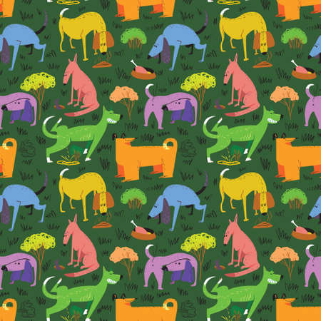 Seamless pattern with dogs. Vector illustration with cute cartoon pets . Colorful funny animal characters in childlike style. Collection with cheerful dogs for backgrounds, textile, wrapping paper, surfaces
