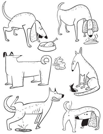 Cute doodle set with dogs. Vector illustration with pets. Black and white sketchy animal characters in childlike style. Collection with cheerful dogs