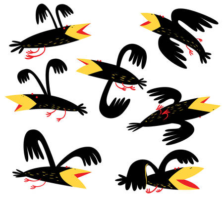Funny birds set. isolated crown characters. Vector illustration in cartoon style.