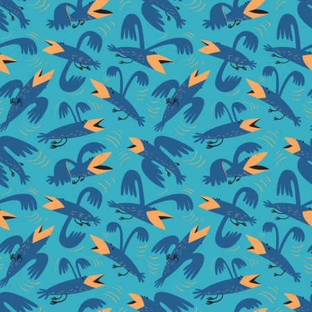 Funny birds seamless pattern.Background with flying isolated crown characters. Vector illustration in cartoon style for surface design, wrapping paper, fabric and textile