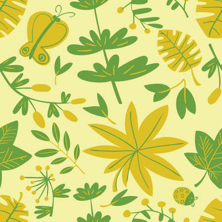 Cute floral seamless pattern. Background with leaves and plants and butterflies. Colorful vector illustration for surface design, textile and fashion prints with bugs and leaves.