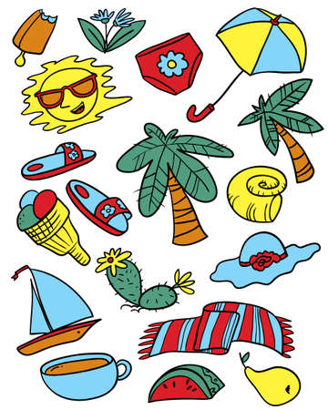 Summer objects set. Beach collection with palms and fruits. Vector illustration in doodle line art style.