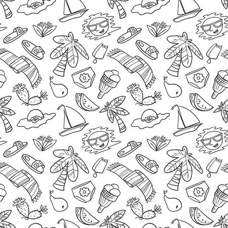 Summer objects seamless pattern. Beach background with palms and fruits. Vector illustration in doodle line art style for surface design, seasonal wallpapers, fabric, textile
