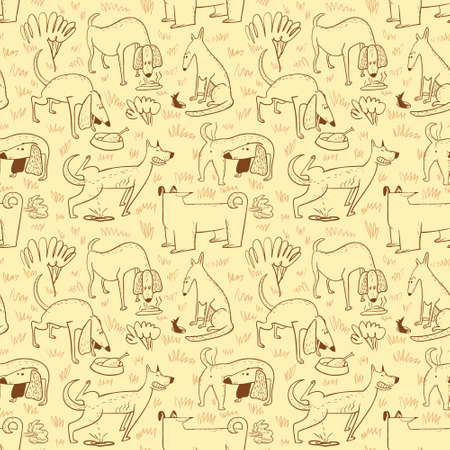 Seamless pattern with dogs. Vector illustration with cute cartoon pets . Funny animal characters in doodle style. Collection with cheerful dogs for backgrounds, wrapping, surfaces Illustration