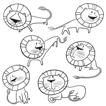 Set di simpatici leoni selvatici. Caratteri di leo doodle isolati. Vettoriali