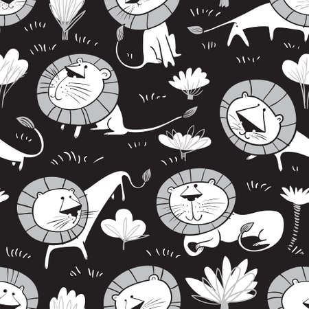 Cute wild  lions background. Seamless pattern with  doodle leo characters.