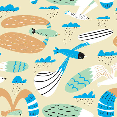 Doodle birds seamless pattern.Background with flying seagulls characters. Vector illustration in funny sketchy style for surface design, wrapping paper, fabric and textile Иллюстрация