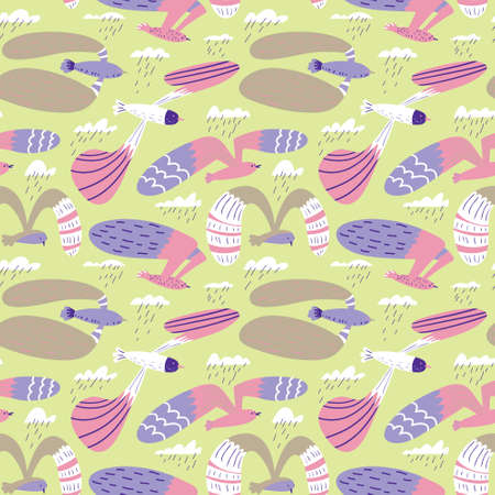 Doodle birds seamless pattern.Background with flying seagulls characters. Vector illustration in funny sketchy style for surface design, wrapping paper, fabric and textile Vectores