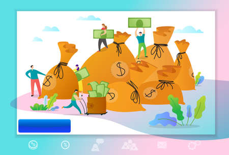 Web page template with managers making money. Concept with people collecting money to the bags.  Vector illustration for business teamwork themes,  mobile app, banner, ui and ux desig