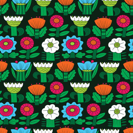 Floral seamless pattern. Silhouettes of abstract flowers and leaves.Vector illustration in minimalistic flat style. Background for spring and summer seasonal designs Vettoriali