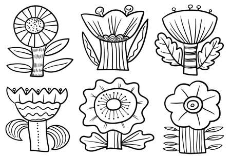 Floral doodle set. Collection with abstract flowers and leaves.Vector illustration in minimalistic flat style. Element for spring and summer seasonal designs Vettoriali