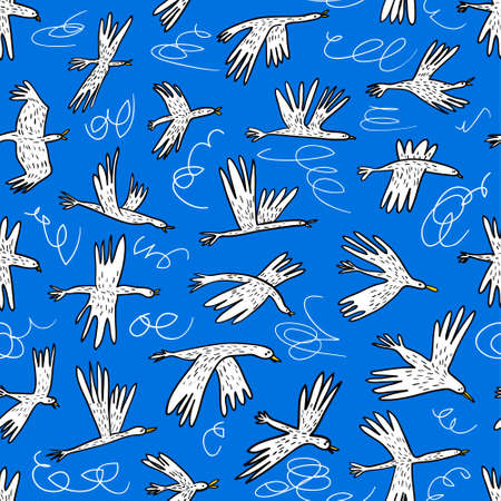 Doodle birds seamless pattern. Background  with funny flying animals in the sky. Vector illustration in cute hand drawn incomplete children style. Design element for wrapping, textile, fabric and surfaces Vectores