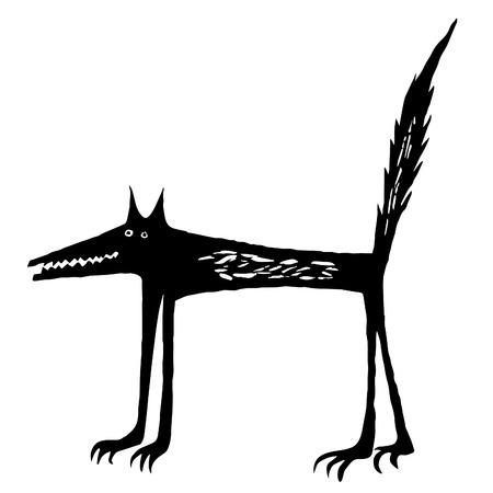 black wolf: Cartoon black wolf.