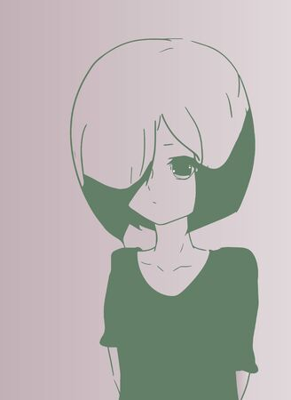 anime: Sad young girl in anime style.