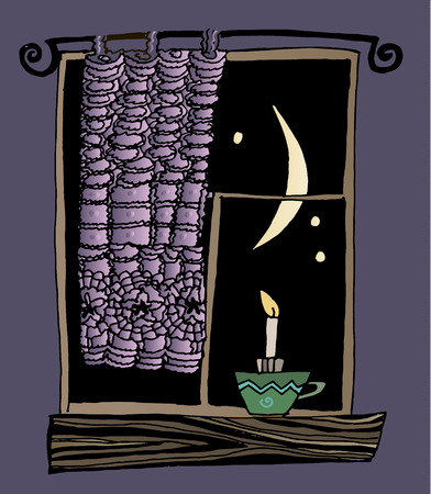 Outside the window at night. Window sill with burning candle and curtain. Stock Vector - 58852976