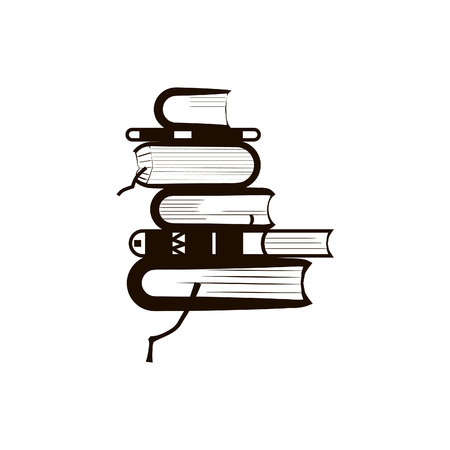 A stack of books.A pile of books. Icon. White and black.