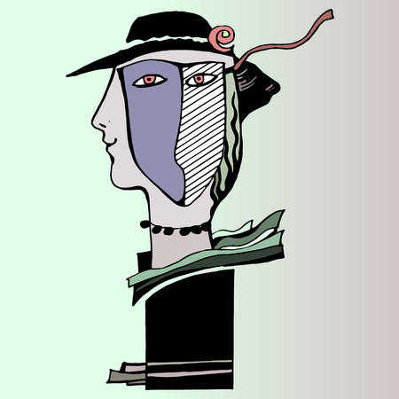 A woman in mask. Vector illustration.