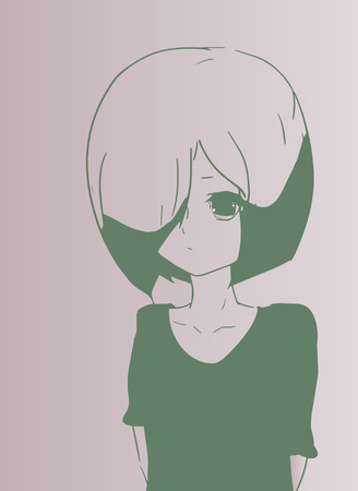 anime young: A young sad girl in anime style. Vector.