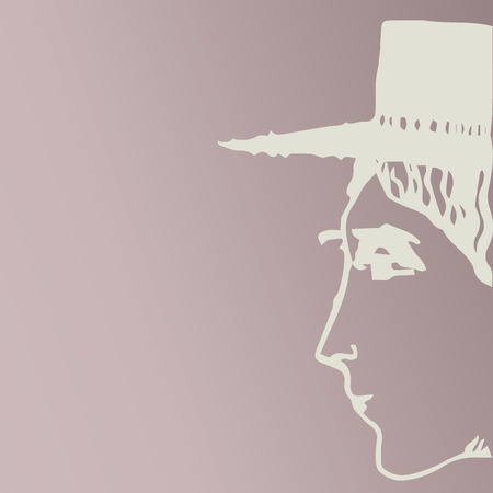 femme: Woman in hat. Vector.
