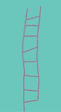 Pink rope-ladder on blue background. Isolated.