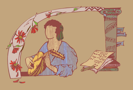 A man playing on lute in medieval style.