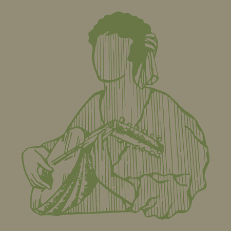 bard: A man playing on mandalin in medieval style. Outlines.