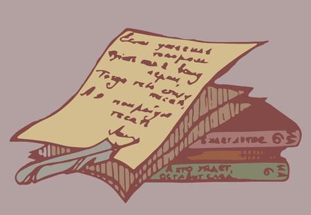 Ein Stapel der Bücher ANG Papier mit Stift.