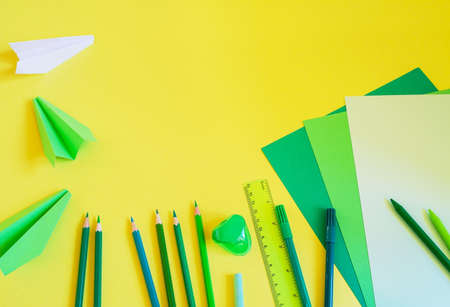 Superieur Creative, Fashionable, Minimalistic, School Or Office Workspace With Blue  Supplies On Yellow Background