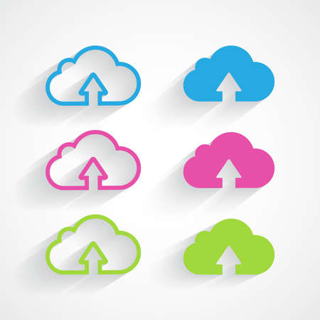 Cloud icon pack with shadow  Vector illustration   Vector