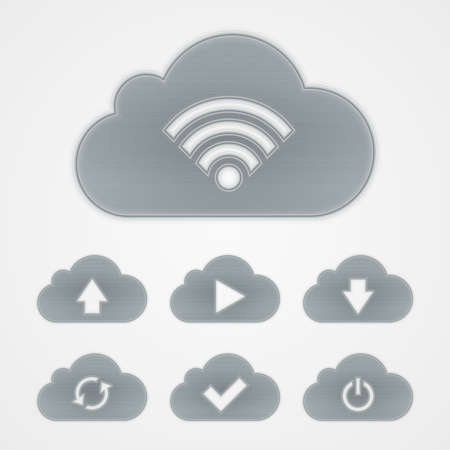 Metal cloud icon set  Vector illustration    Vector