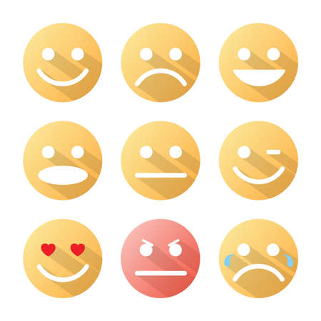 bored face: Emotion icons set with shadow on white background  Vector illustration   Illustration