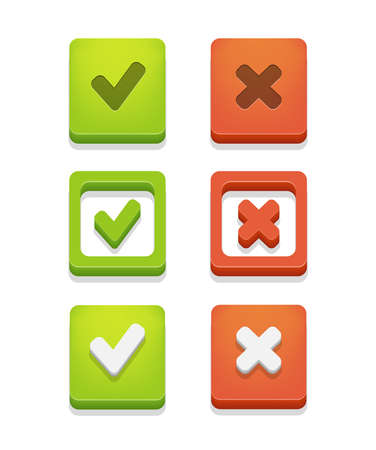 Vector check box set with check marks isolated on white  Illustration