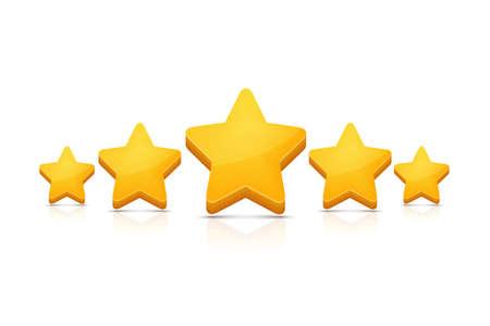 Five stars on white. Vector illustration