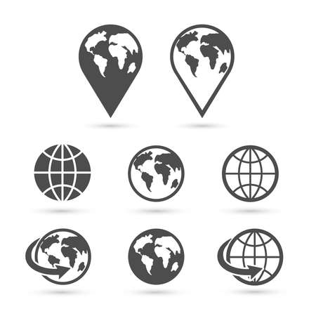 internet icons: Globe earth icons set isolated on white. Vector.