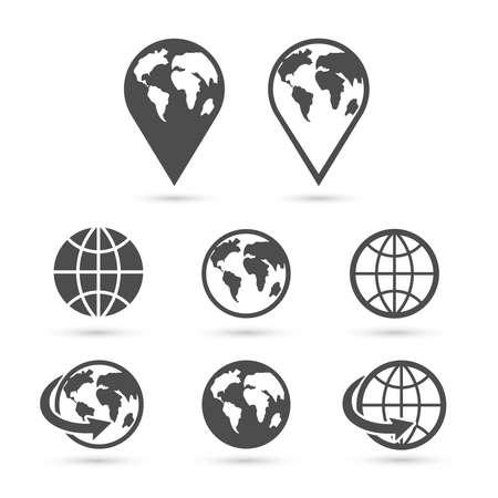 icon: Icone del globo terra impostato isolato su bianco. Vettore.