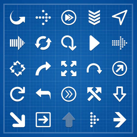 moving forward: Arrow sign pack on blueprint. Vector elements