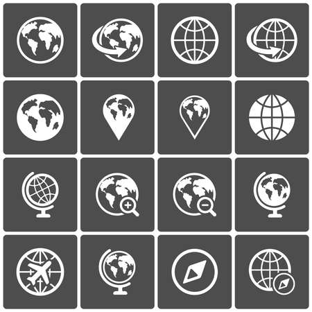 Globe icon pack on dark background. Vector