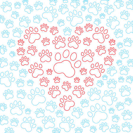 Heart with dog or cat paws background. Vector