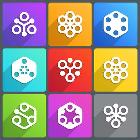 nano: Flat abstract icon with shadow. Vector