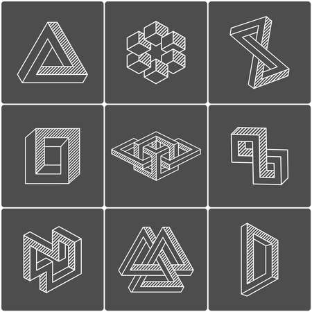 Optical illusion shapes. Vector elements