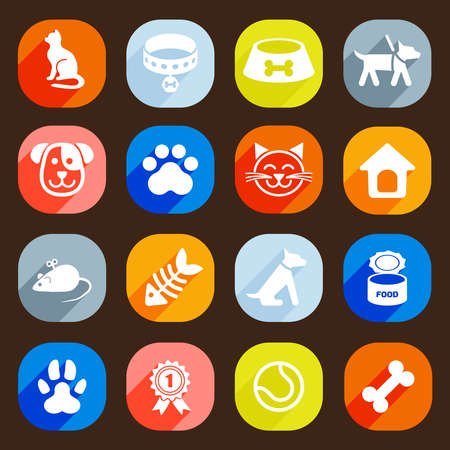 dog walking: Trendy Flat dog and cat icons. Vector elements