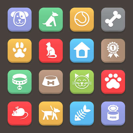 Colorful Pets icons set for web or mobile. Vector Illustration
