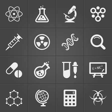 beaker: Science and physics related icons on black. Vector