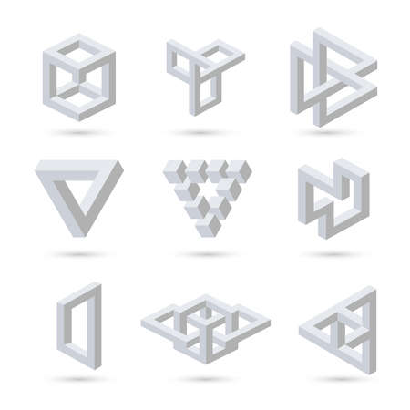 arte optico: Símbolos ilusión óptica geométrica. Vector