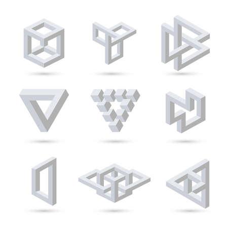 Symbole geometryczne optyczne złudzenie. Wektor
