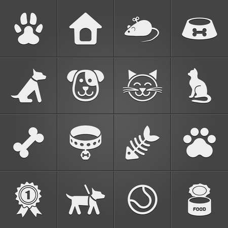 Cute pet icons on black. Vector Illustration