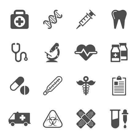 simbolo medicina: Iconos m�dicos sobre fondo blanco. Vector