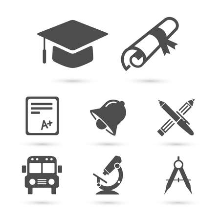 autobus escolar: Iconos de la escuela de Educación en blanco. Elementos del vector Vectores